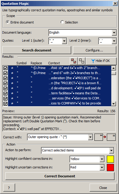 Screenshot: Quotation Magic dialog showing all found problems