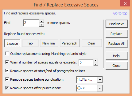 Find / Remove Excessive Spaces dialogue