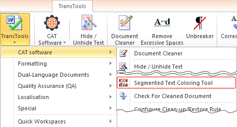 Segmented Text Coloring Tool menu item