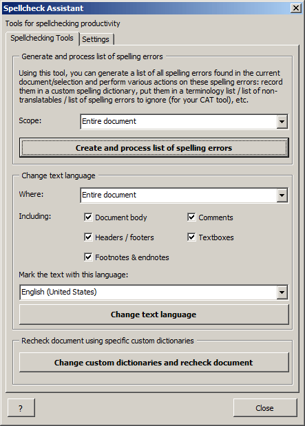 Spellcheck Assistant window