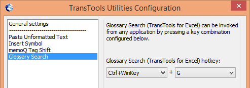 Screenshot: Configuration of Glossary Search command