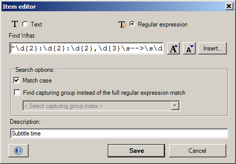 Regular expression search