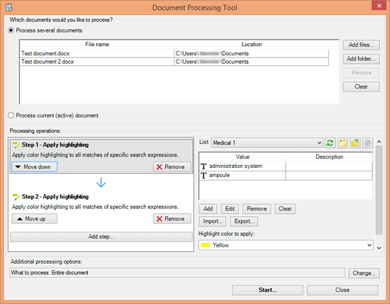 Document Processing Tool dialogue