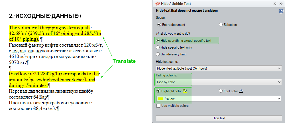 How to hide all text except text marked in Yellow highlight color