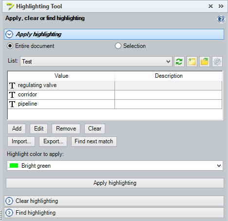 Highlighting Tool with a sample search expression list to apply highlight color to words and phrases